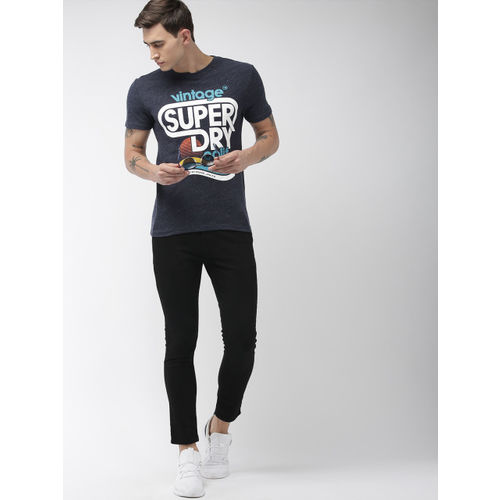 Superdry Men Navy Blue & White Printed MALIBU Round Neck T-Shirt