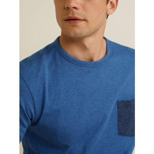 MANGO MAN Men Blue Solid Round Neck T-shirt