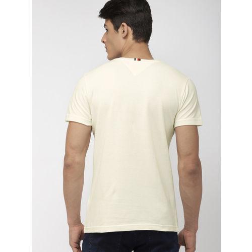 Tommy Hilfiger Men Cream-Coloured Solid Round Neck T-shirt