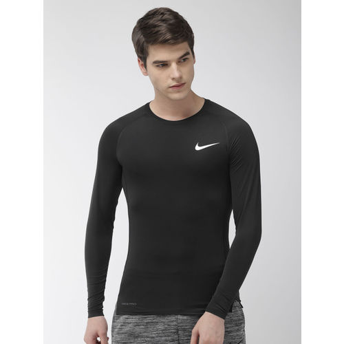 Nike Men Black Solid AS M NP LS TIGHT Dri-Fit Round Neck Training T-shirt