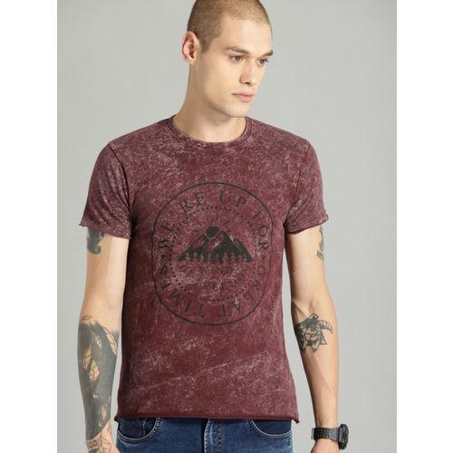 Roadster Men Burgundy Printed Round Neck T-shirt