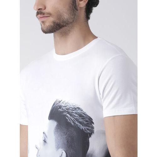 Rex Straut Jeans Men White Printed Round Neck T-shirt