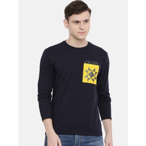 Calvin Klein Jeans Men Navy Blue Solid Slim Fit Round Neck T-shirt