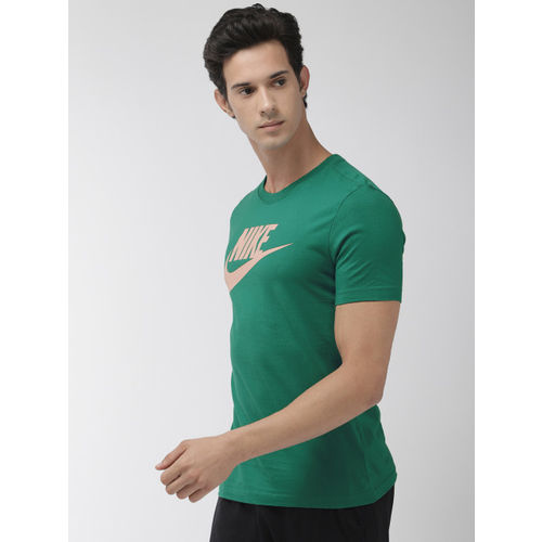 Nike Men Green Printed Standard Fit NSW ICON FUTURA Round Neck T-shirt