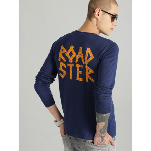 Roadster Men Blue Printed Round Neck T-shirt