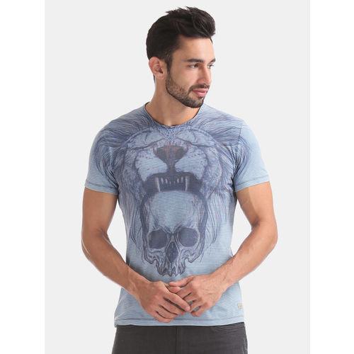 Ed Hardy Men Blue Slim Fit Printed Tshirt