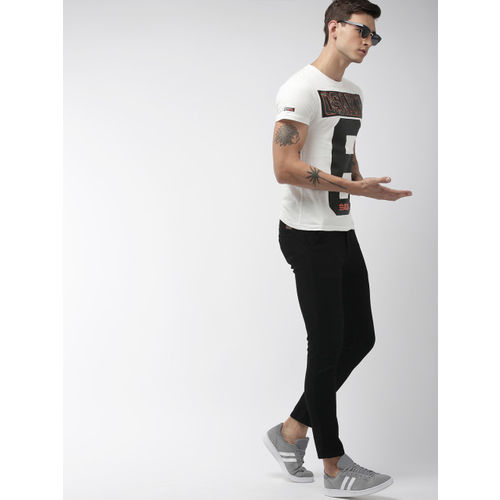Superdry Men White & Black Printed Applique OSAKA Round Neck T-Shirt