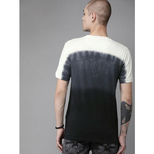 Roadster Men Black & Off-White Ombre Colourblocked Round Neck T-shirt