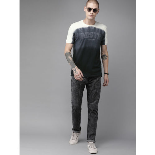 Roadster Men Black & Off-White Ombre Colourblocked Round Neck T-shirt