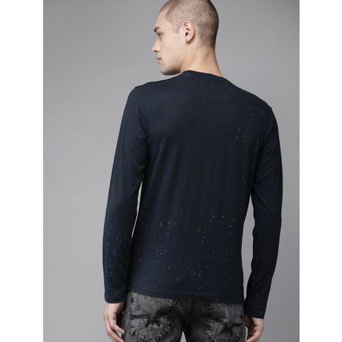 Roadster Men Navy Blue Printed Round Neck T-shirt