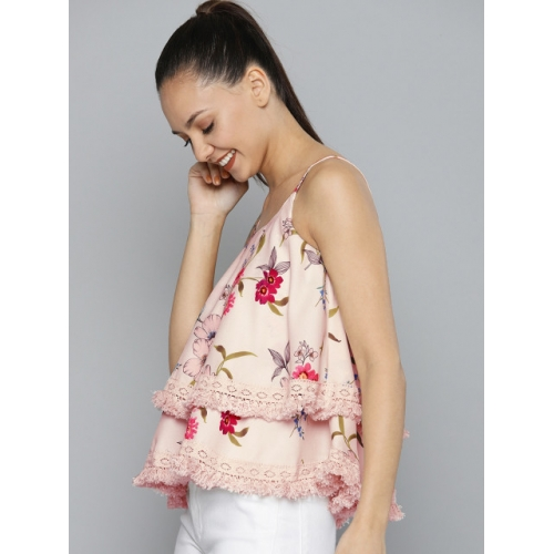 HERE&NOW Women Pink Printed Layered A-Line Top