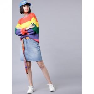 Tokyo Talkies Women Blue Solid A-Line Above Knee-length Skirt