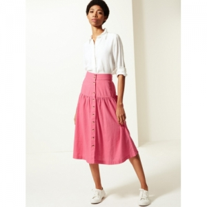Marks & Spencer Women Pink Solid Flared Midi A-Line Knitted Skirt