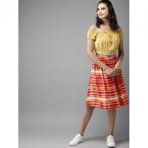 HERE&NOW Women Red & Mustard Yellow Printed Flared Knee-Length Skirt