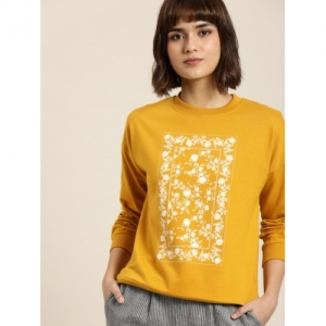 all about you Women Mustard Yellow & White Printed Sweatshirt