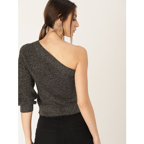 MANGO Women Black & Golden Ribbed One Shoulder Crop Sweater