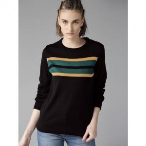 Roadster Women Black & Yellow Striped Sweater