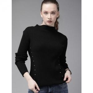 Roadster Women Black Solid Embellished Sweater