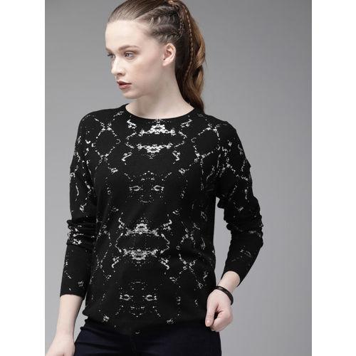 Roadster Women Black Printed Sweater