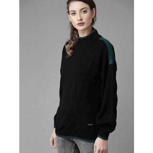 Roadster Women Black Solid Sweater