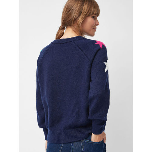 next Women Navy Blue Self Design Sweater