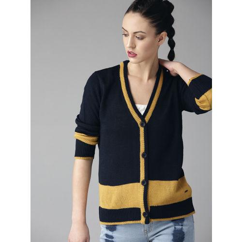 Roadster Women Navy Blue & Mustard Yellow Colourblocked Cardigan