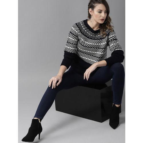 Roadster Women Navy Blue & Off-White Self Design Sweater