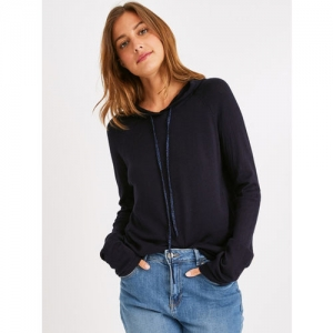 promod Women Navy Blue Solid Hooded Sweater