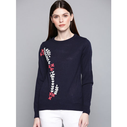 Chemistry Edition Women Navy Blue & White Self Design Sweater