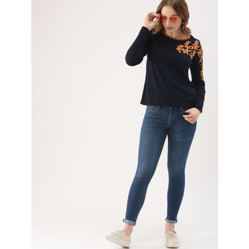 DressBerry Women Navy Blue Woven Design Sweater
