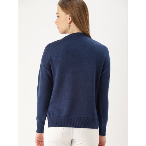 DressBerry Women Navy Blue Embroidered Pullover Sweater