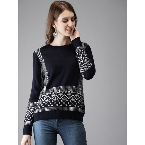 Anouk Women Navy Blue & Off-White Self Design Sweater
