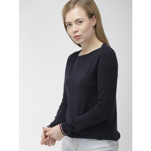 Tommy Hilfiger Women Navy Blue Solid Sweater