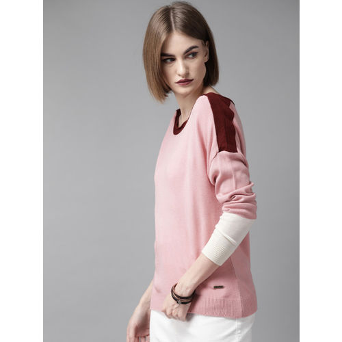 Roadster Women Pink Solid Sweater
