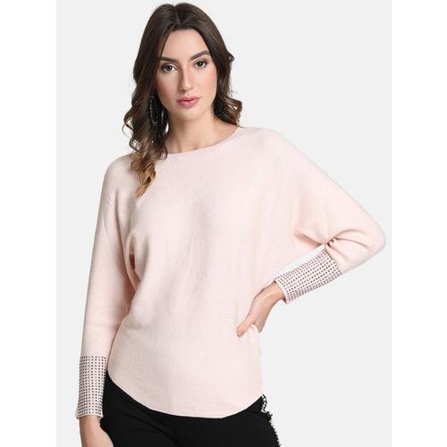 Kazo Women Pink Solid Embellished Sweater
