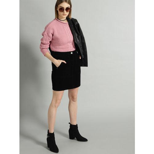 Roadster Women Pink Self Design Sweater