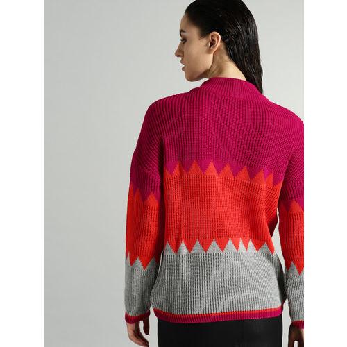 Roadster Women Pink & Orange Colourblocked Sweater