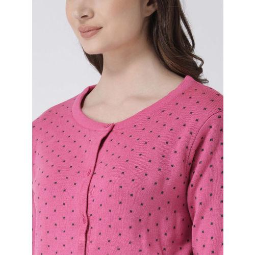 Club York Women Pink Self Design Sweater