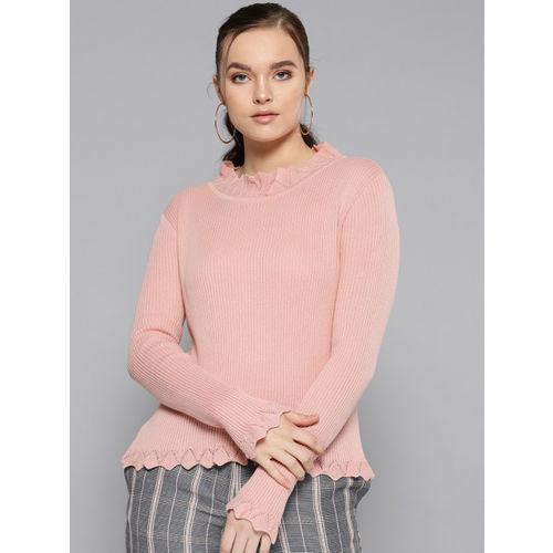 STREET 9 Women Pink Ribbed Sweater