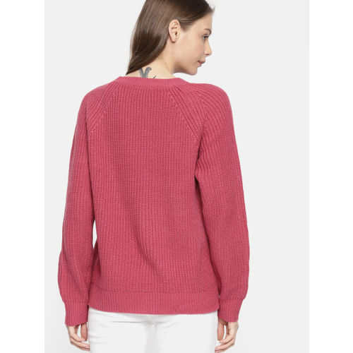 Harvard Women Pink Self Design Pullover Sweater