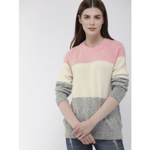 Tommy Hilfiger Women Grey & Off-White Colourblocked Sweater