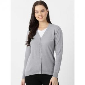 Monte Carlo Women Grey Solid Cardigan Sweater