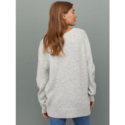 H&M Women Grey Solid V-neck Jumper