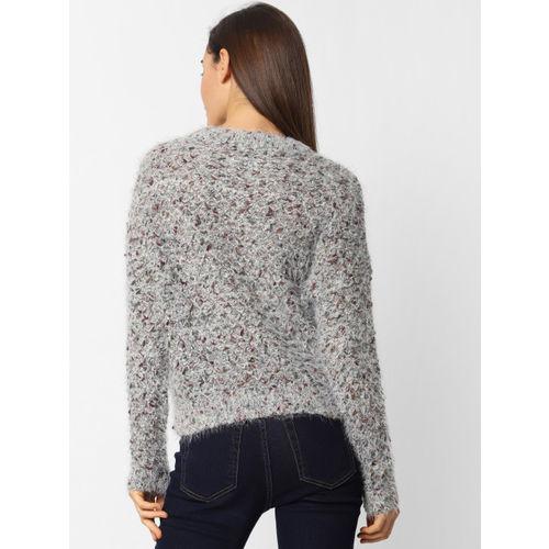 ONLY Women Grey Self Design Open Knit Sweater