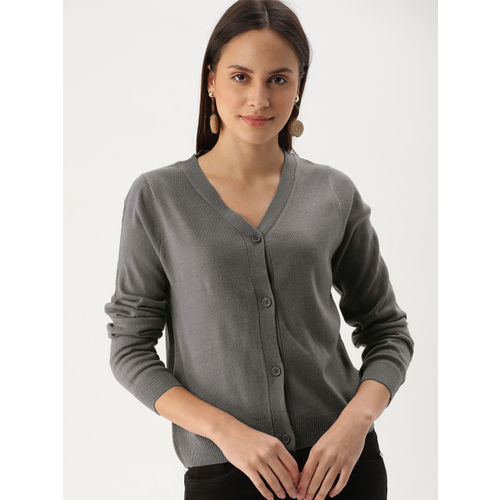 DressBerry Women Grey Solid Cardigan Sweater
