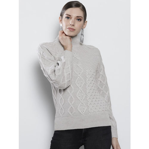 DOROTHY PERKINS Women Grey Self Design Sweater