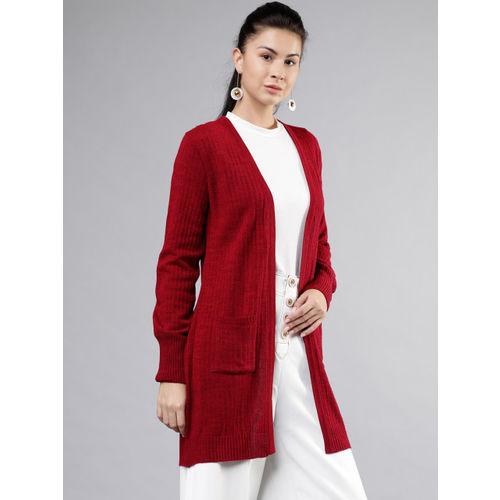 Tokyo Talkies Women Red Solid Longline Sweater Shrug