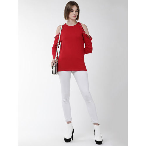 Fort Collins Women Red Solid Cold-Shoulder Sweater