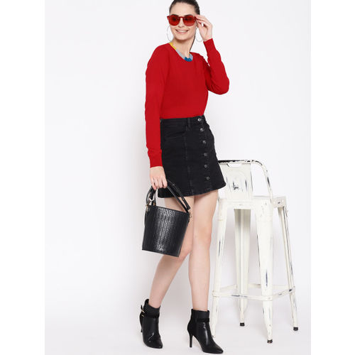 DressBerry Women Red Solid Sweater