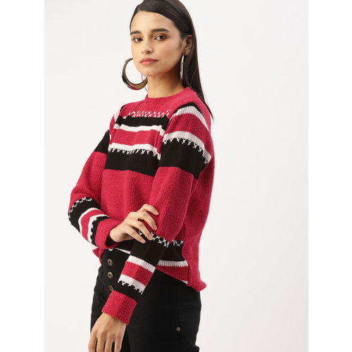 DressBerry Women Red & Black Colourblocked Pullover Sweater